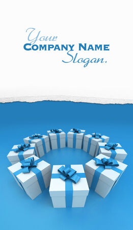 lateral view: Lateral view of a circle of white gift boxes with blue ribbons and background, 3D rendering Stock Photo