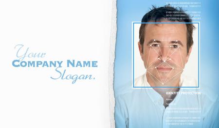 reconocimiento: Cara del hombre con las líneas de un software de reconocimiento facial Foto de archivo