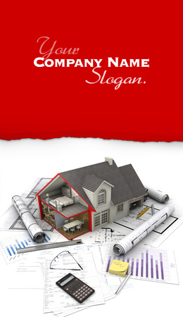 mortgage application: 3D rendering of a house, blueprint, mortgage application form, etc. Stock Photo