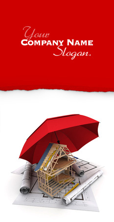 security company: An umbrella protecting a house under construction Stock Photo