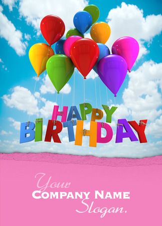 shinny: 3D rendering of a group of balloons with the words happy birthday hanging from the strings in blue shades Stock Photo