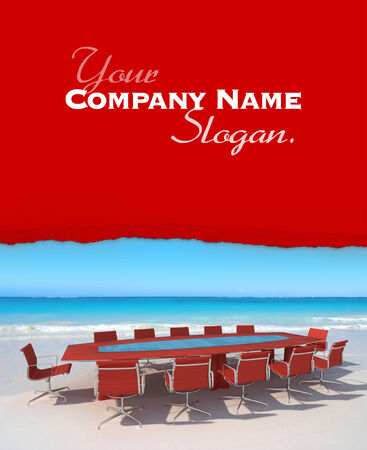 executive chair: Customizable image of a board meeting on the beach Stock Photo