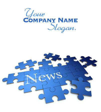 3D rendering of a forming puzzle with the word News