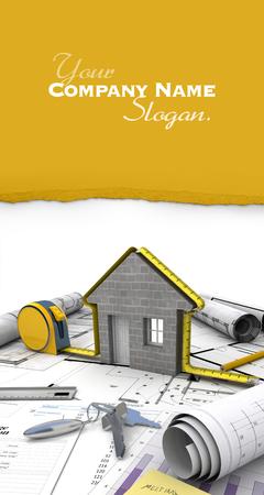 mortgage application: A house under construction on top of a table with mortgage application form, calculator, blueprints, etc..