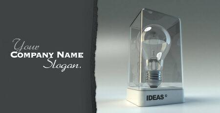 Design Vitrine mit dem Wort Ideen einer Glühbirne zeigen