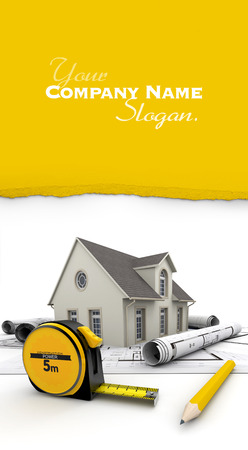 Customizable 3D image with a house, blueprints , a tape measure and a pencil Stock Photo