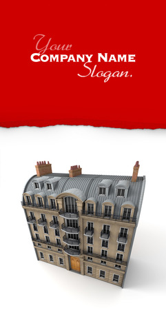 3D rendering of a typically Parisian building photo