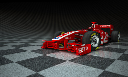 Race car with fake logos in a checkered background