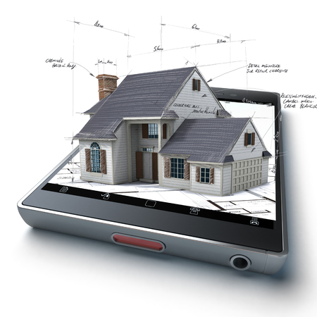 3D rendering of a smart phone with a house and blueprints jutting out Standard-Bild