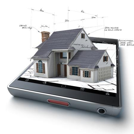 3D Rendering von einem Smartphone mit einem Haus und Blaupausen herausragt Standard-Bild - 34155844