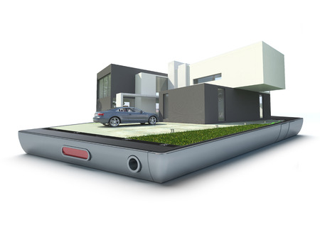 Modern building with car jutting out of a handheld device photo