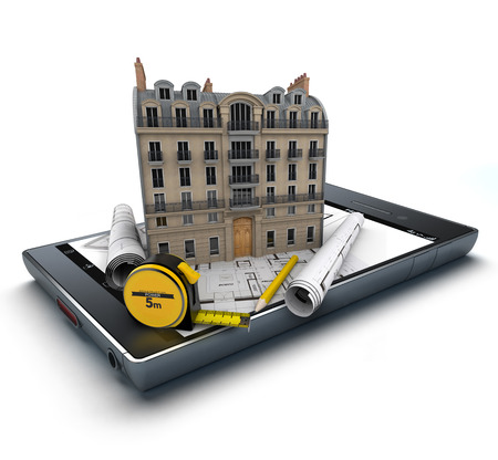 handheld device: Handheld device with a classic building and blueprints on top