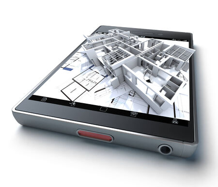 home plans: 3D rendering of a smart phone with a building and blueprints jutting out Stock Photo