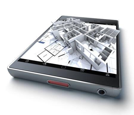 3D Rendering von einem Smartphone mit einem Gebäude und Blaupausen herausragt Standard-Bild - 34156267
