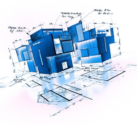 edificio: Proyecto de la configuración con las notas y escritos en tonos azules Foto de archivo
