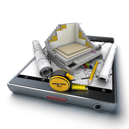 subflooring: 3D rendering of a smart phone with a house section showing all technical details, surrounded by blueprints and a tape measure Stock Photo