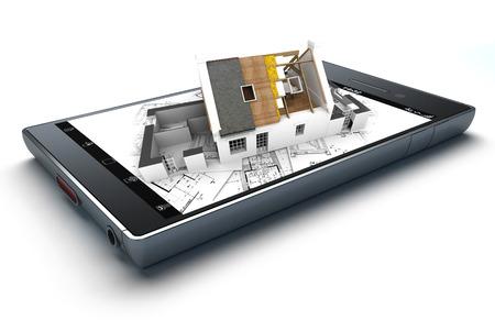 3D-weergave van een slimme telefoon met een huis met blootgesteld dak lagen op de top van blauwdrukken uitsteekt