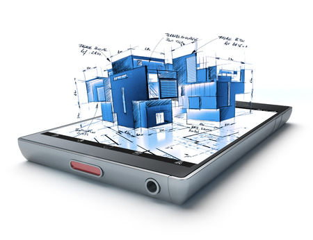 3D rendering of a smart phone with a building and blueprints jutting out photo