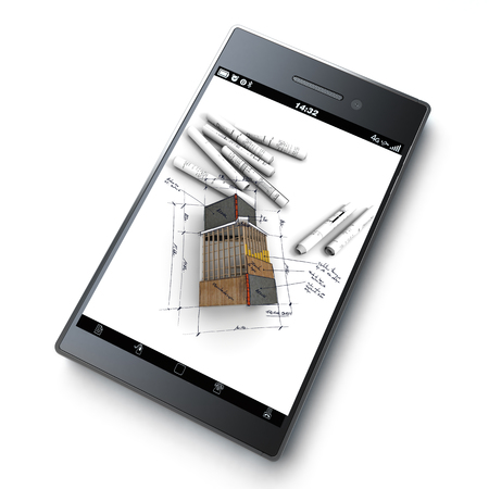 3D rendering of a smart phone with a house with exposed roof layers on top of blueprints jutting out photo