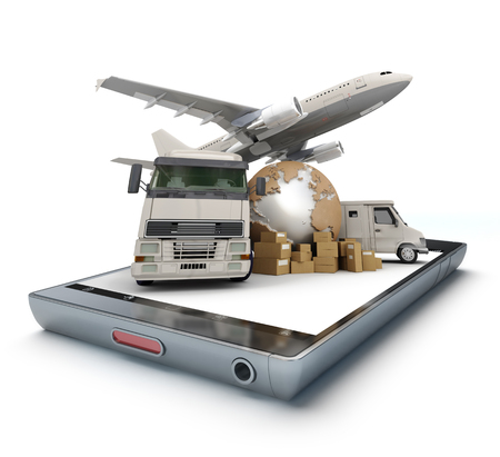 handheld device: Group of cardboard boxes, the Earth and air and land vehicles on top of a handheld device