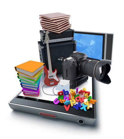 A smartphone with a camera, music, education, books, tv on top of it photo