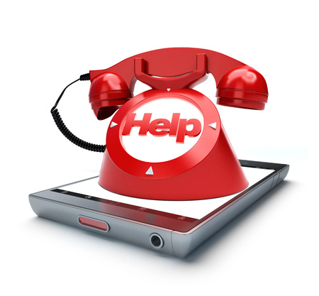 emergency number: Classic old fashioned telephone with the word help, coming out of a smart phone