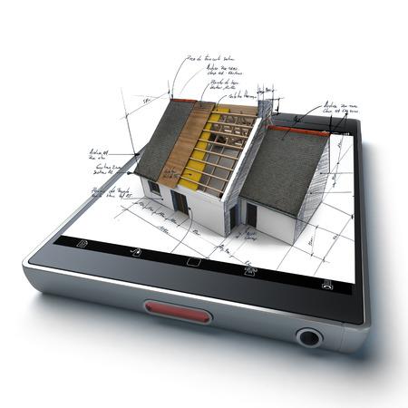 Haus im Bau mit technischen Hinweisen, auf einem Handheld-Gerät Standard-Bild - 34347371