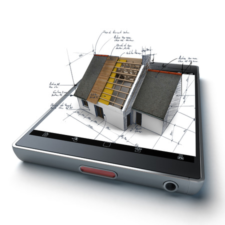 handheld device: House under construction with technical notes, on top of a handheld device