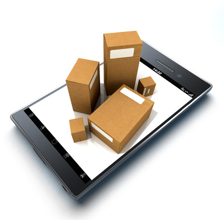 Group of cardboard boxes on top of a handheld device photo