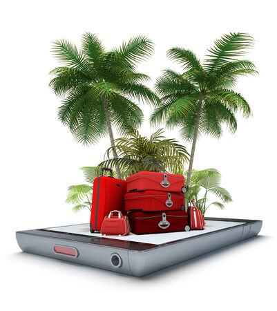 Luggage and tropical landscape, coming out of a smart phone screen photo