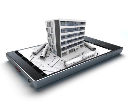 3D Rendering von einem Smartphone mit einem Gebäude und Blaupausen herausragt Standard-Bild - 34416202
