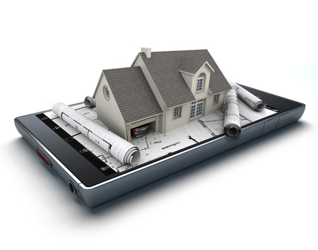 real estate property: 3D rendering of a smart phone with a house and blueprints jutting out Stock Photo