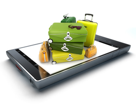 cell phone screen: A pile of luggage on top of a smart phone screen