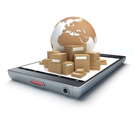 handheld device: Group of cardboard boxes and the Earth on top of a handheld device