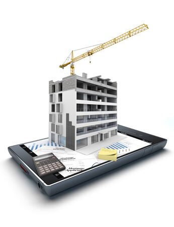 mortgage application: 3D rendering of a smart phone with an apartment block in construction, on top of graphics and a mortgage application form jutting out
