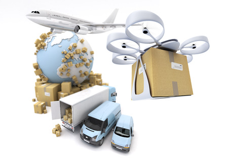 logistics world: 3D rendering of the Earth surrounded by an airplane, truck, van and a flying drone with a package attached