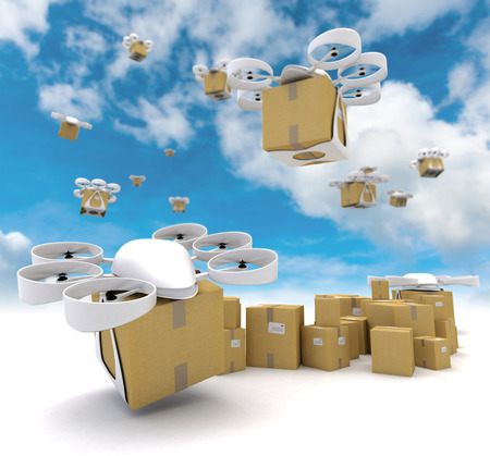 mail delivery: 3D rendering of a group of flying drones transporting packages Stock Photo