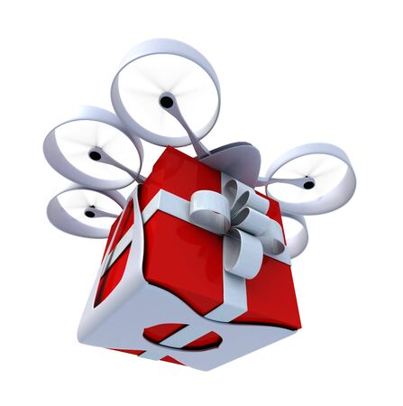 3D rendering of a giftbox flying held by a drone photo