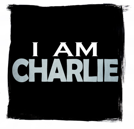extremist: Grunge black sign with the words I am Charlie