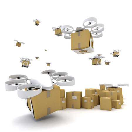 drones: 3D rendering of a group of flying drones transporting packages Stock Photo