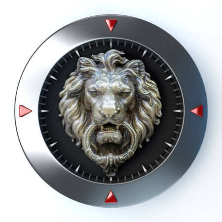 3d lion: 3D rendering of a dial with a retro lion head in the center