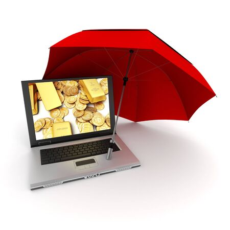 assets: 3D rendering of a laptop with gold ingots and coins on the screen, protected by an umbrella