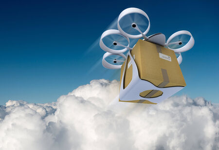 3D rendering of a flying drone carrying a box against a blue sky photo