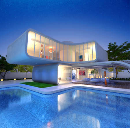 3D rendering of a Modern luxurious designers house with pool photo