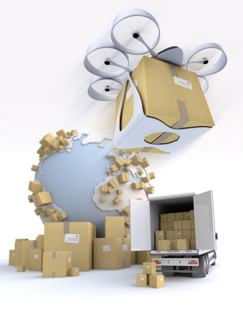 3D rendering of the Earth surrounded by cardboard boxes, a loading truck with flying drone with a package attached photo