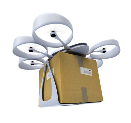 3D rendering of a flying drone carrying a box against a white background photo