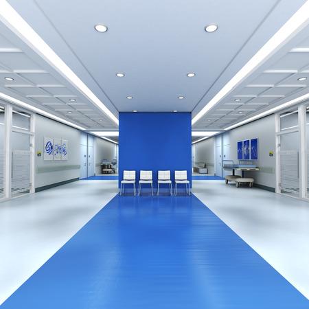 복사 공간이 많은 병원 내부의 3D 렌더링
