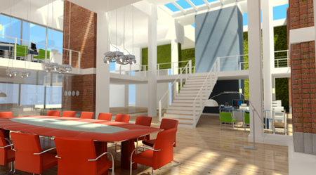 3D rendering of a contemporary luxurious office in a loft