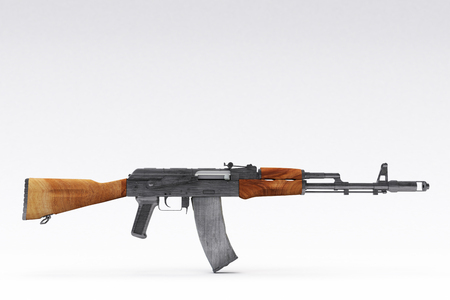riffle: 3D rendering of a Kalashnikov assault riffle on a white background Stock Photo
