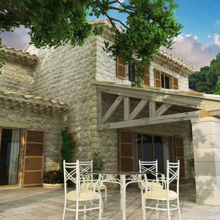 3D rendering of a magnificent villa with huge beautiful front yard photo